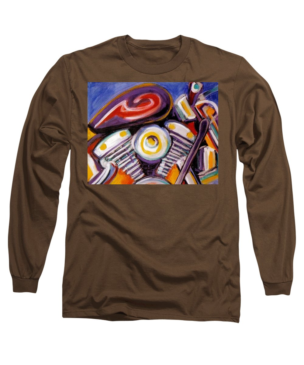 Abstract Long Sleeve T-Shirt featuring the painting Harley Closeup by Anita Burgermeister