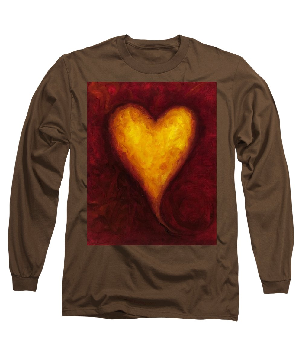 Heart Long Sleeve T-Shirt featuring the painting Heart Of Gold 1 by Shannon Grissom