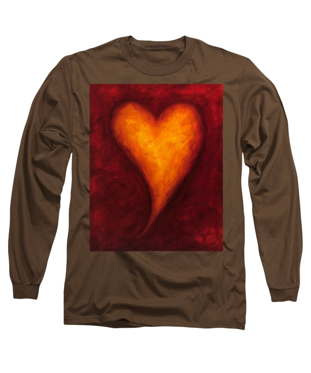 Heart Long Sleeve T-Shirt featuring the painting Heart Of Gold 2 by Shannon Grissom