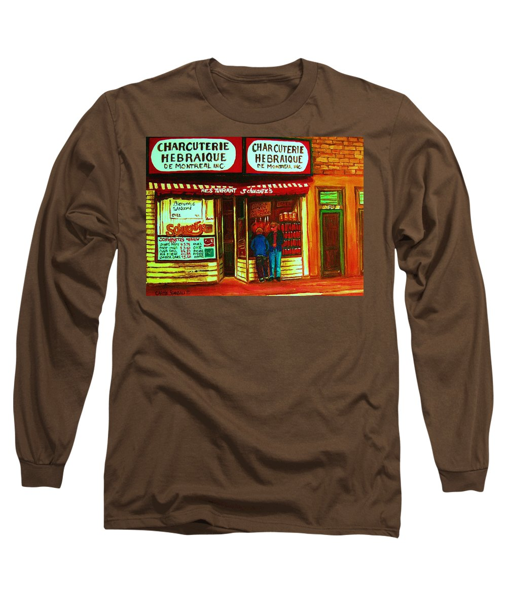 Schwartzs Long Sleeve T-Shirt featuring the painting Hebrew Delicatessen by Carole Spandau