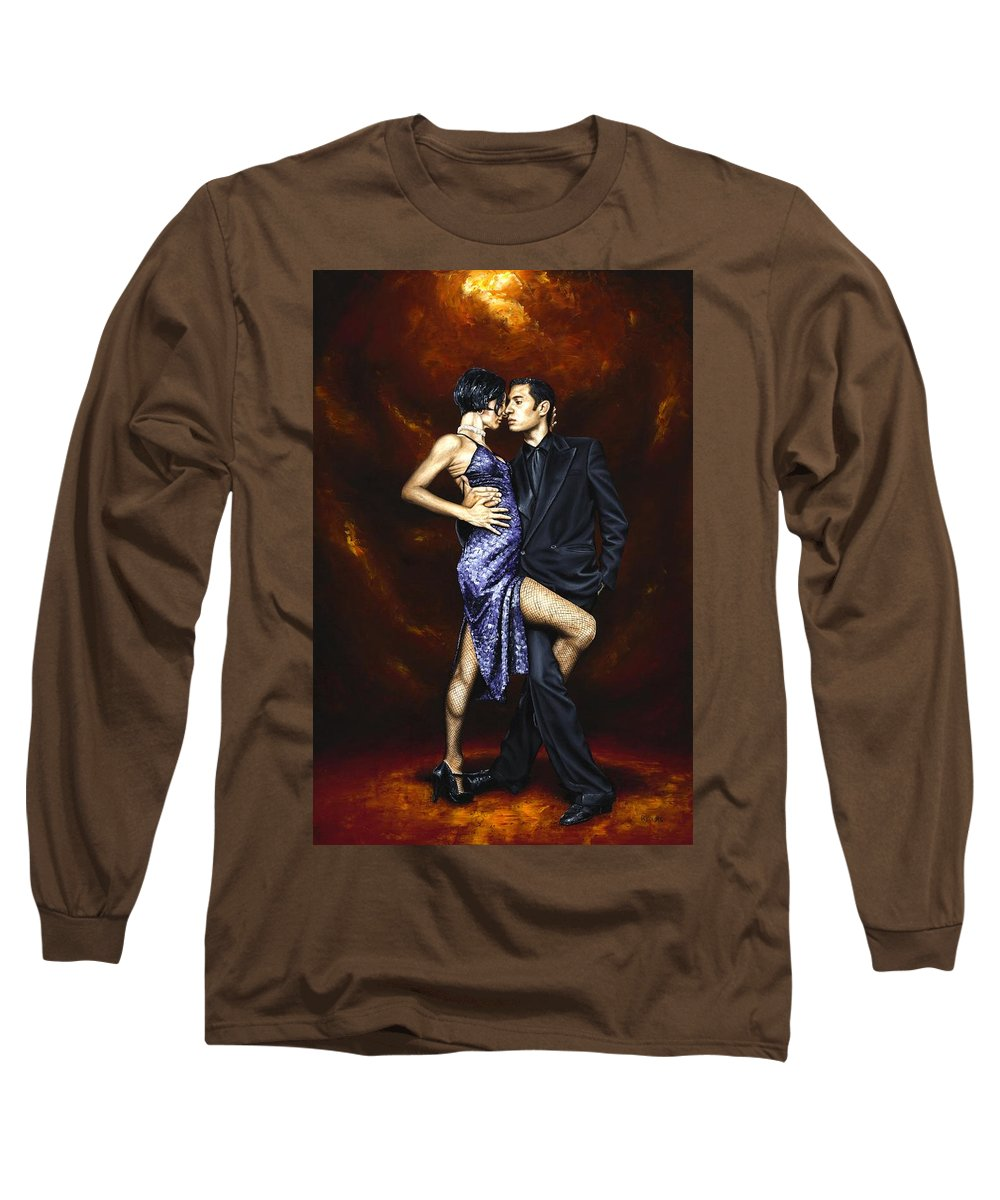 Tango Dancers Love Passion Female Male Woman Man Dance Long Sleeve T-Shirt featuring the painting Held In Tango by Richard Young