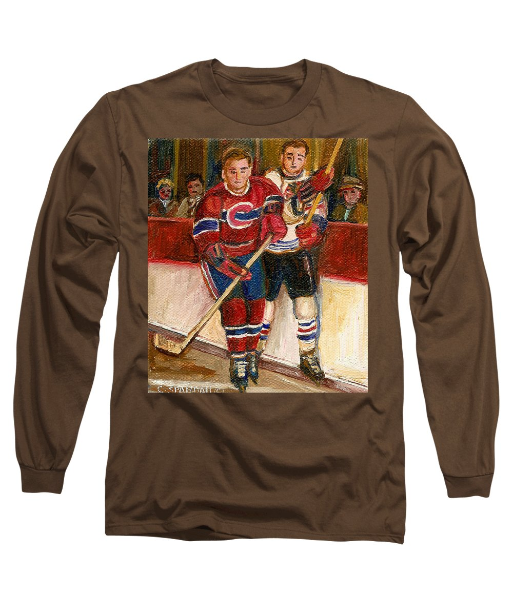 Hockey Long Sleeve T-Shirt featuring the painting Hockey Stars At The Forum by Carole Spandau