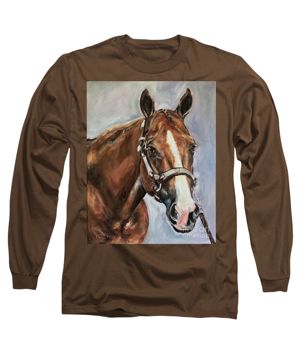 Horse Long Sleeve T-Shirt featuring the painting Horse Head Portrait by Maria Reichert