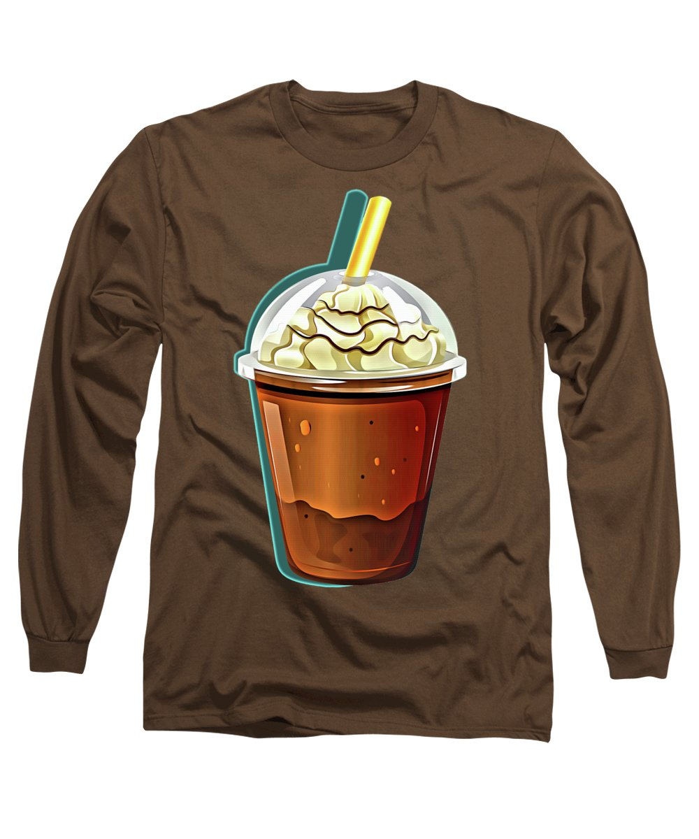 Coffee Long Sleeve T-Shirt featuring the painting Iced Coffee To Go Pattern by Little Bunny Sunshine