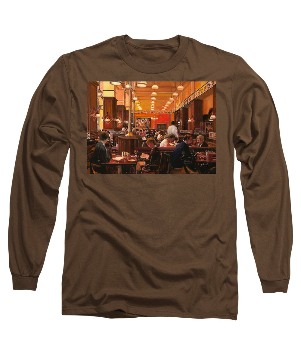 Coffee Shop Long Sleeve T-Shirt featuring the painting In Birreria by Guido Borelli