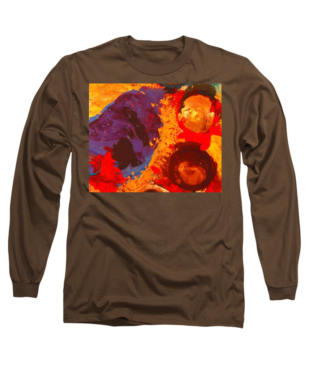 Abstract Long Sleeve T-Shirt featuring the painting Interplanetary Encounter by Natalie Holland