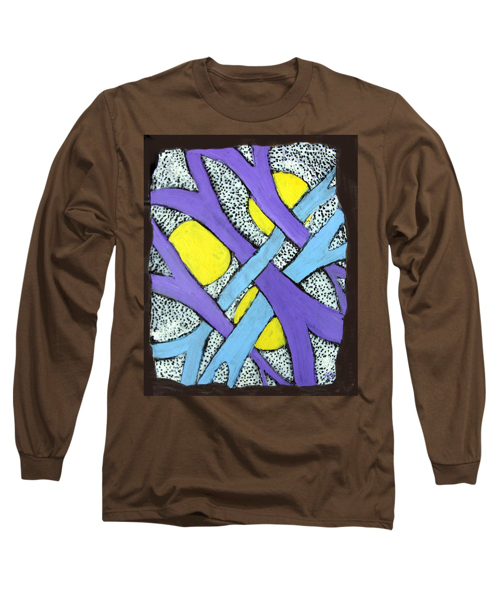 Abstract Long Sleeve T-Shirt featuring the painting Intertwined by Wayne Potrafka