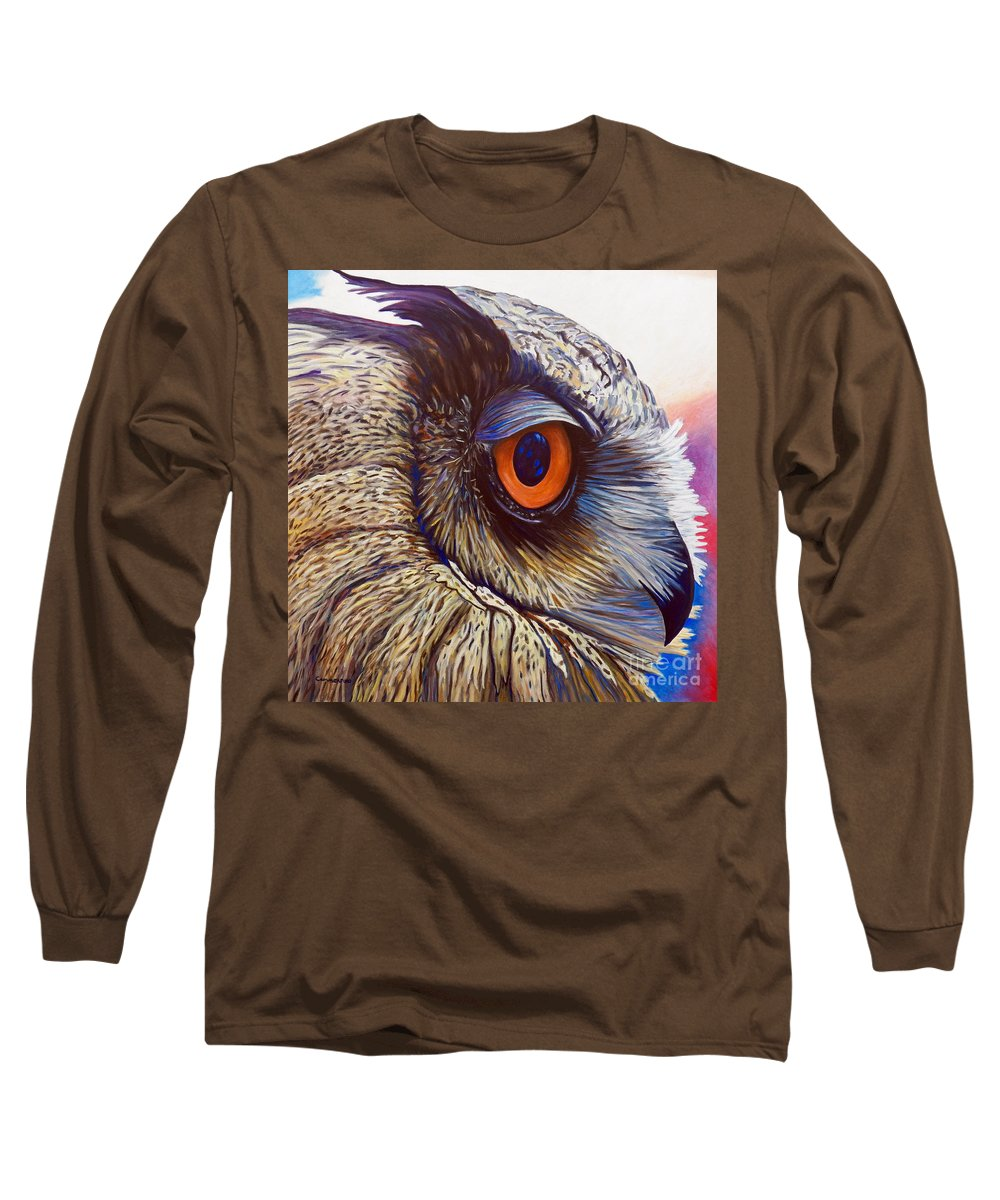 Owl Long Sleeve T-Shirt featuring the painting Introspection by Brian Commerford