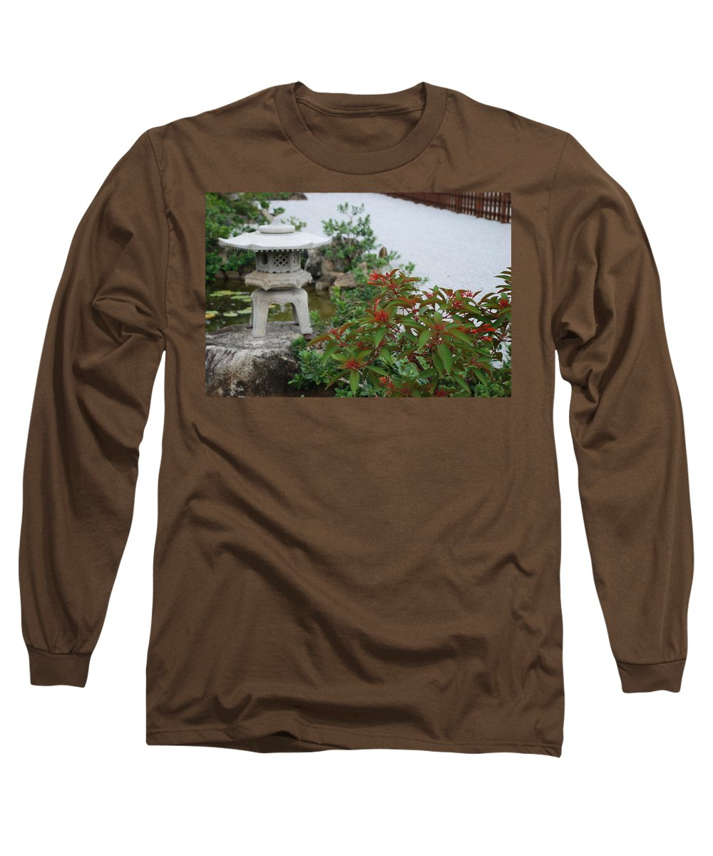 Rocks Long Sleeve T-Shirt featuring the photograph Japanese Garden Lantern by Rob Hans