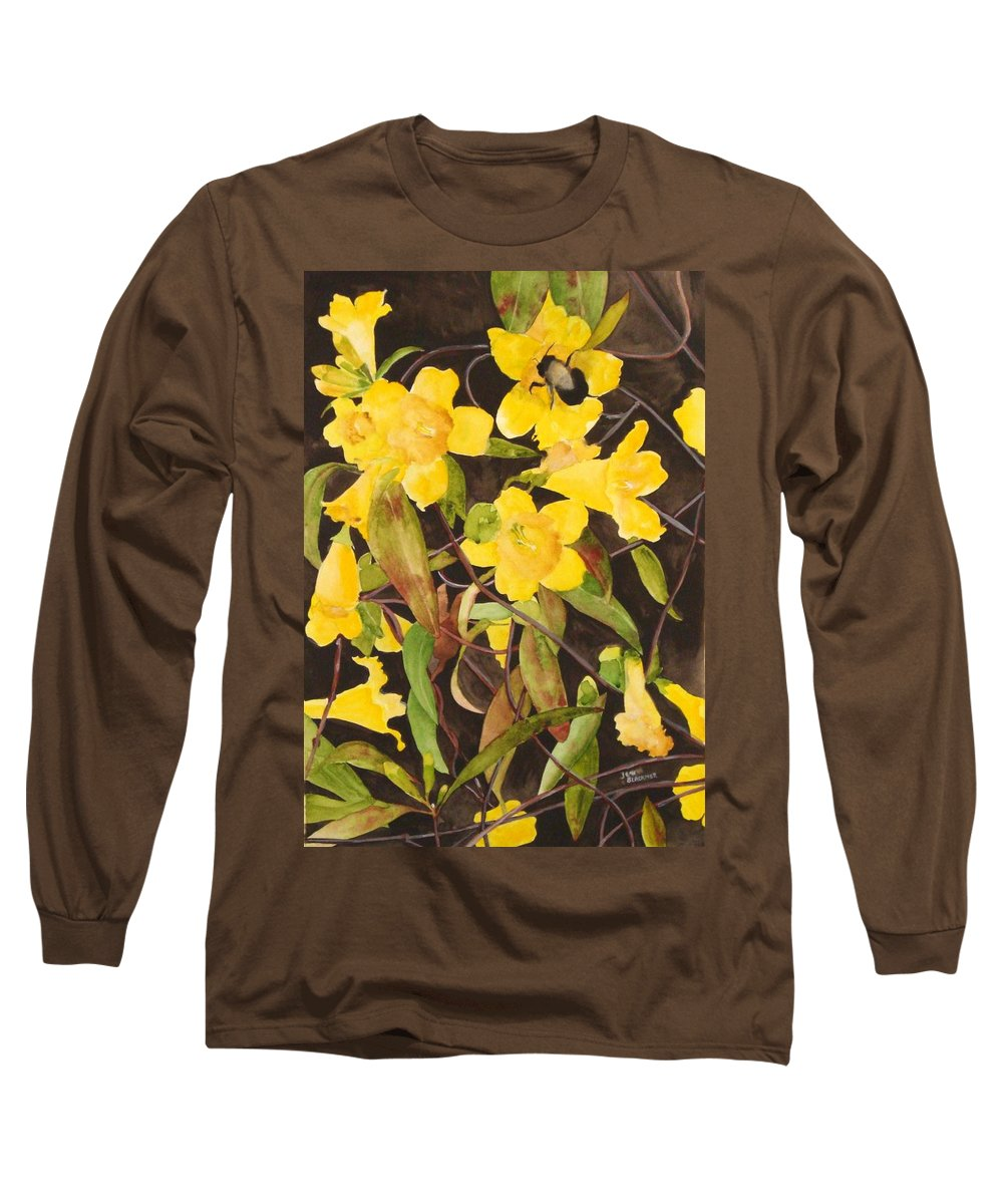 Flowers Long Sleeve T-Shirt featuring the painting Jessamine Jungle by Jean Blackmer