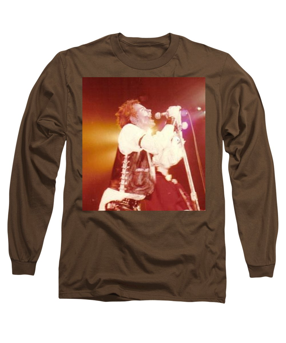 John Rotten-1978 Copyrighted Dawn Wirth Long Sleeve T-Shirt featuring the photograph John Rotten-1978 In San Francisco  by Dawn Wirth