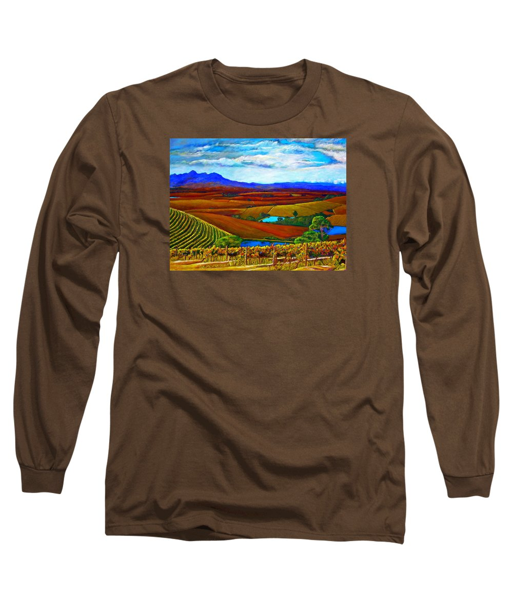 Vineyard Long Sleeve T-Shirt featuring the painting Jordan Vineyard by Michael Durst