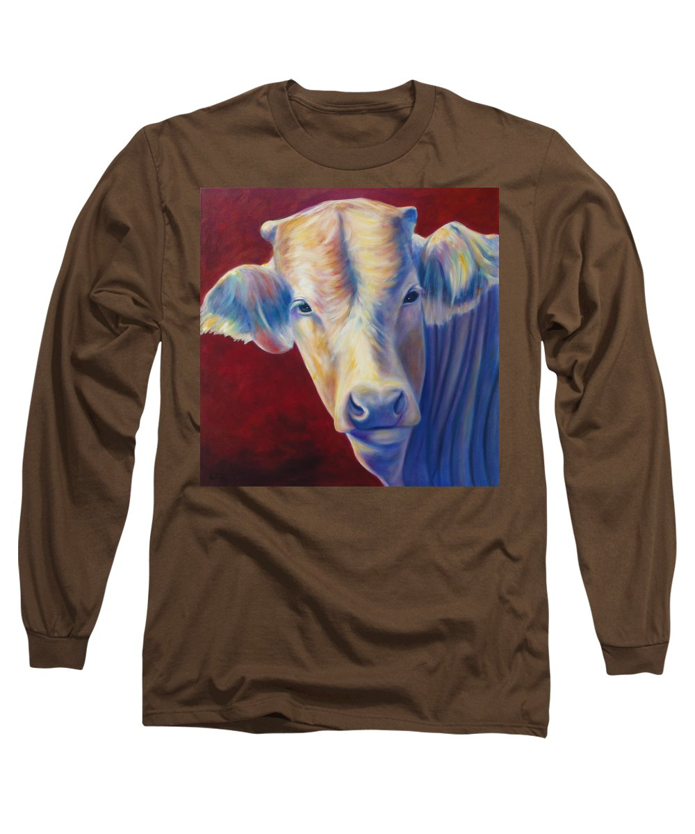 Bull Long Sleeve T-Shirt featuring the painting Jorge by Shannon Grissom