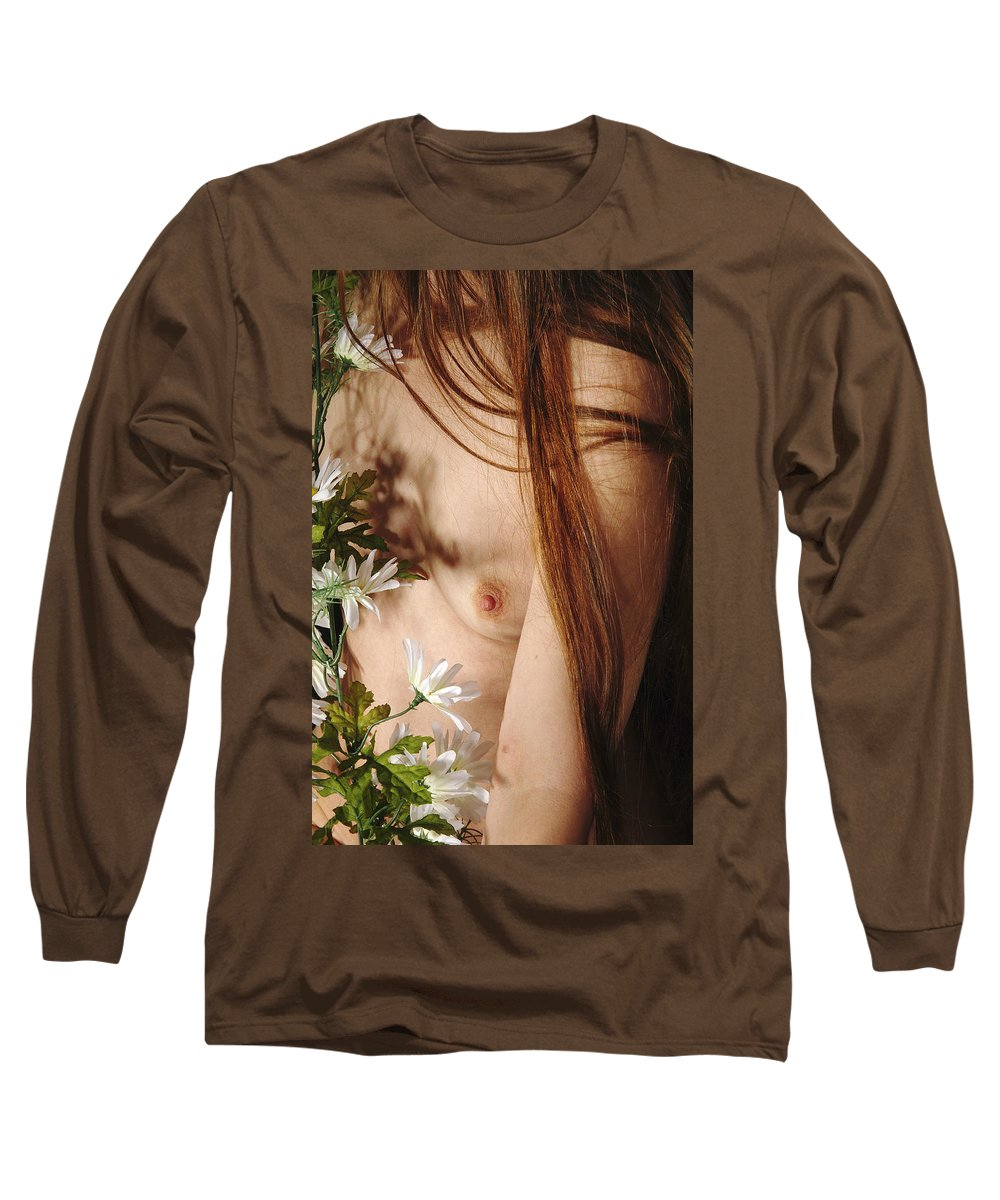 Female Nude Abstract Mirrors Flowers Long Sleeve T-Shirt featuring the photograph Kazi1141 by Henry Butz