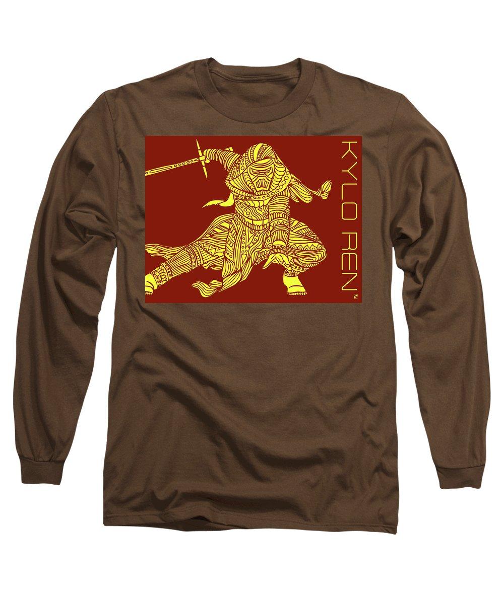 Kylo Ren Long Sleeve T-Shirt featuring the mixed media Kylo Ren - Star Wars Art - Red And Yellow by Studio Grafiikka