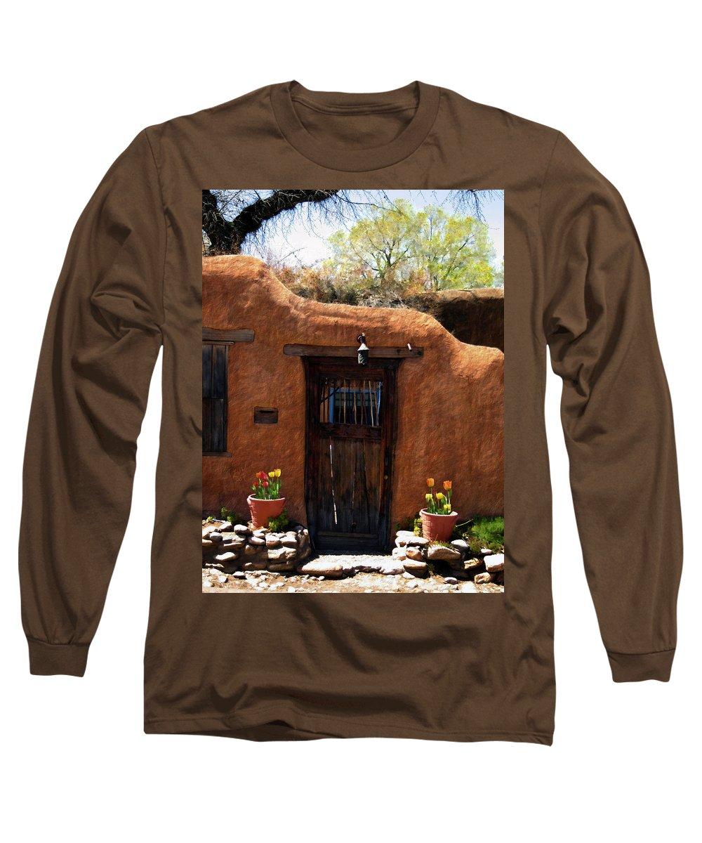 Door Long Sleeve T-Shirt featuring the photograph La Puerta Marron Vieja - The Old Brown Door by Kurt Van Wagner