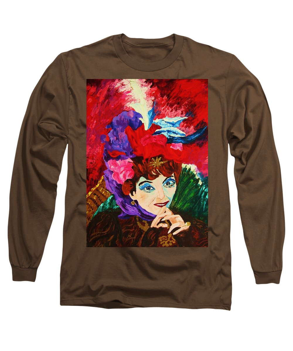 Red Hats Long Sleeve T-Shirt featuring the painting Lady With The Red Hat by Carole Spandau