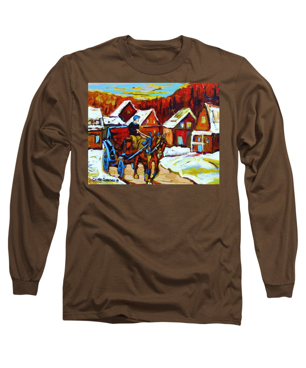 Horse And Carriage Long Sleeve T-Shirt featuring the painting Laurentian Village Ride by Carole Spandau