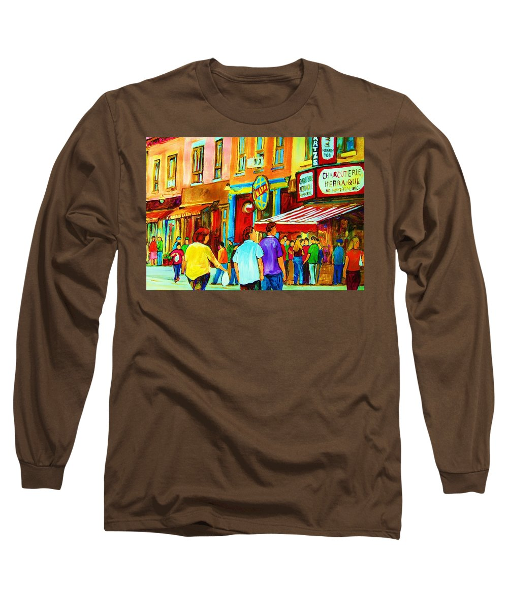 Cityscape Long Sleeve T-Shirt featuring the painting Lets Meet For Lunch by Carole Spandau