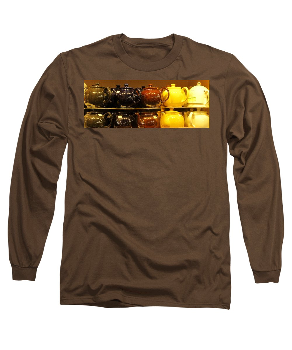 Teapots Long Sleeve T-Shirt featuring the photograph Little Teapots by Ian MacDonald