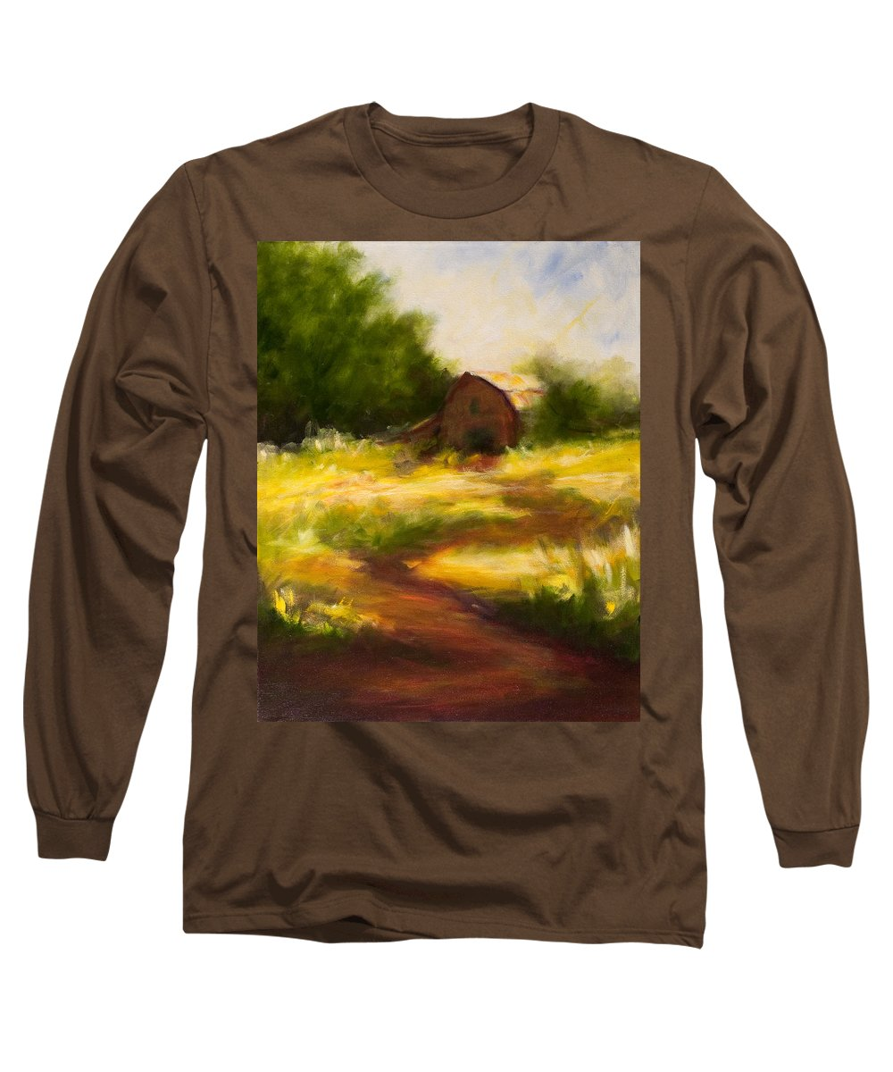Landscape Long Sleeve T-Shirt featuring the painting Long Road Home by Shannon Grissom