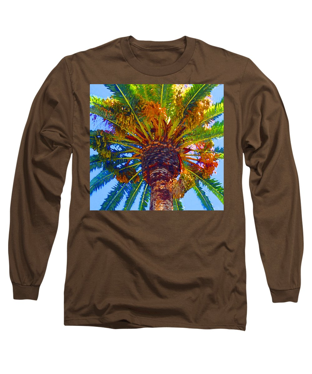 Garden Long Sleeve T-Shirt featuring the painting Looking Up At Palm Tree by Amy Vangsgard