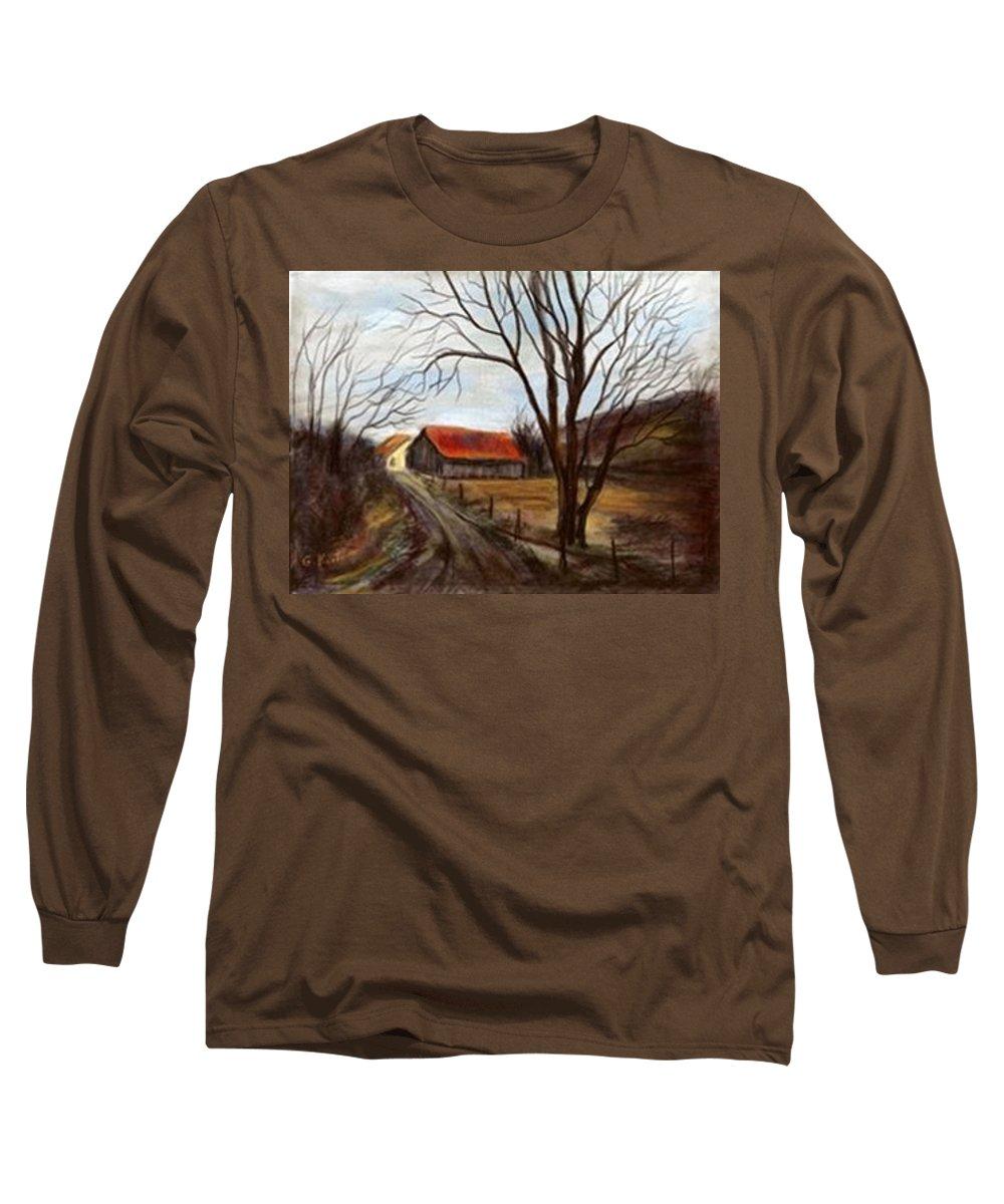 Barn Long Sleeve T-Shirt featuring the painting Louisa Kentucky Barn by Gail Kirtz