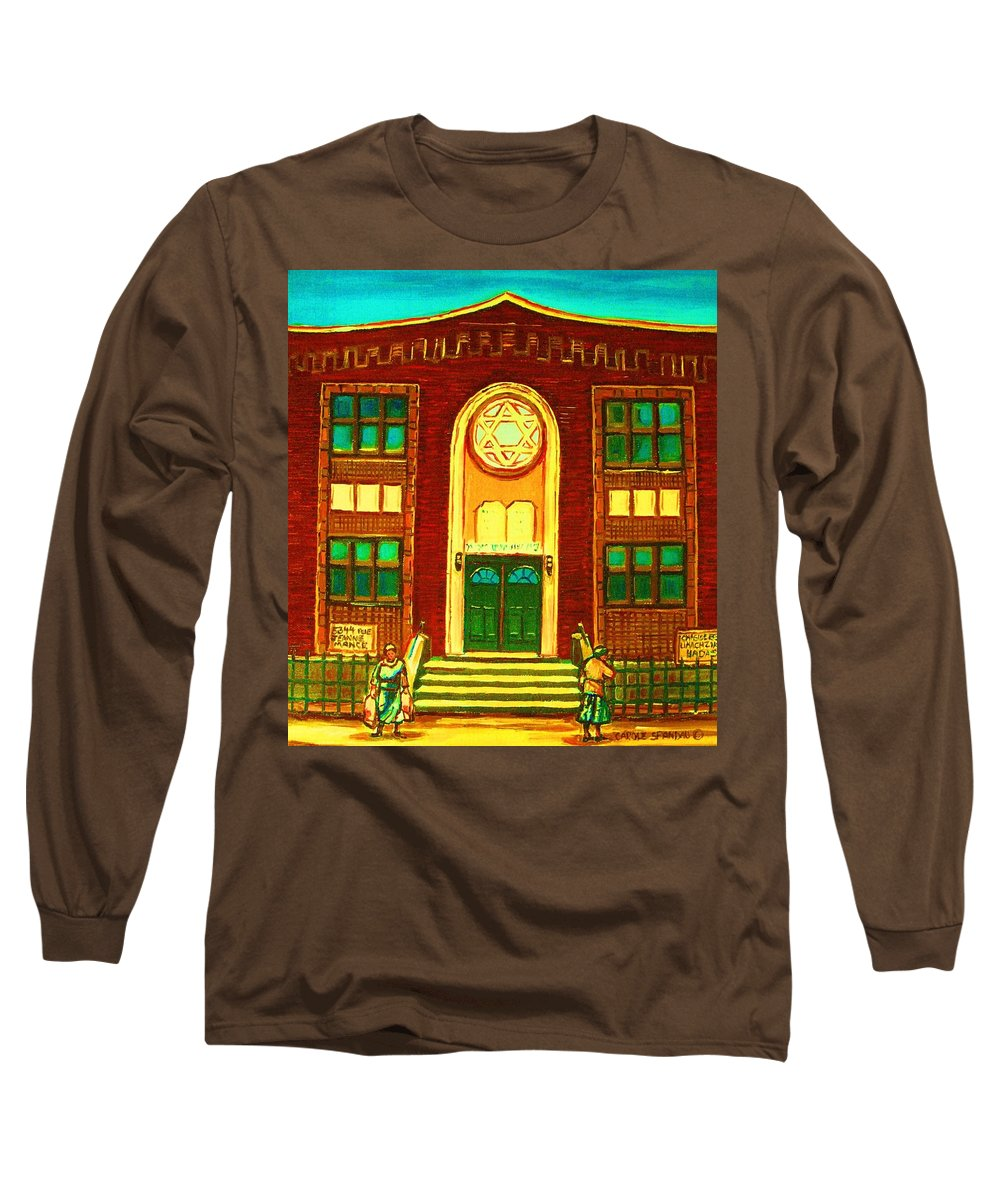 Judaica Long Sleeve T-Shirt featuring the painting Lubavitch Synagogue by Carole Spandau