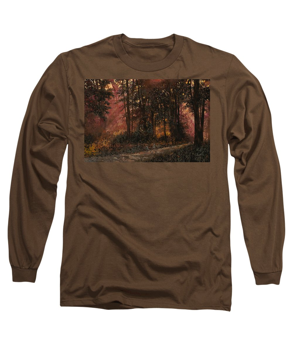Wood Long Sleeve T-Shirt featuring the painting Luci Nel Bosco by Guido Borelli