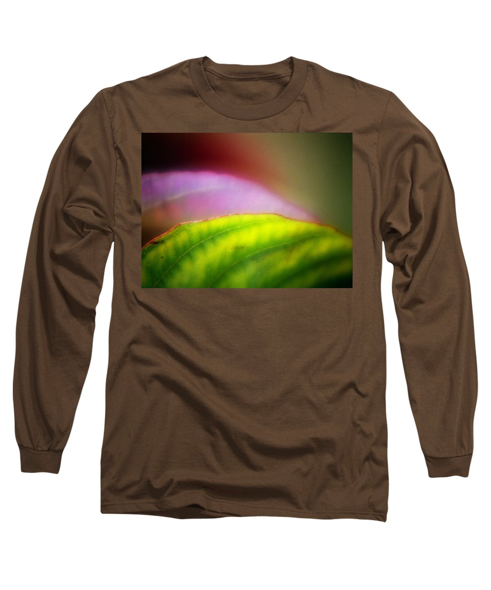 Macro Long Sleeve T-Shirt featuring the photograph Macro Leaf by Lee Santa