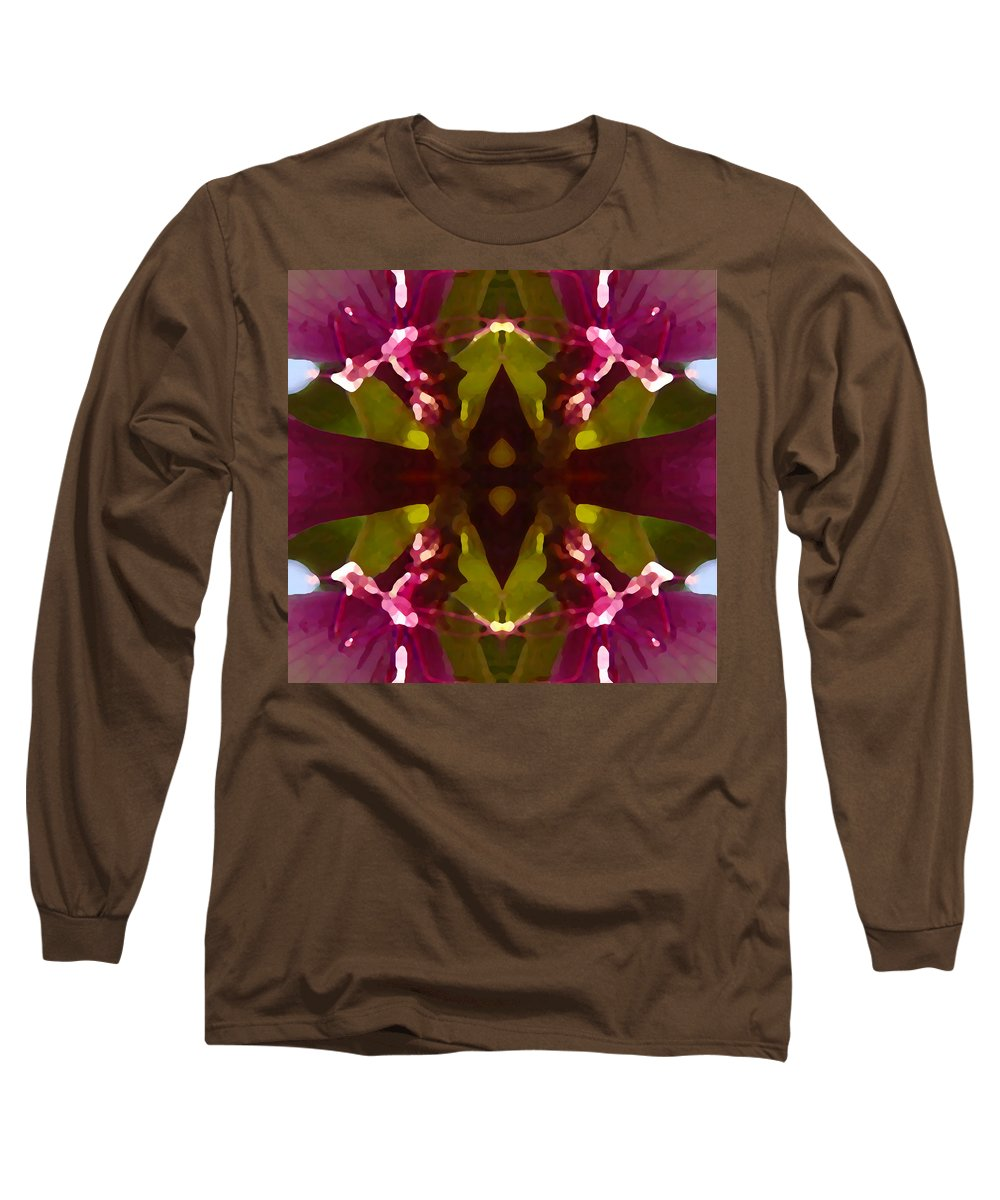 Abstract Painting Long Sleeve T-Shirt featuring the digital art Magent Crystal Flower by Amy Vangsgard