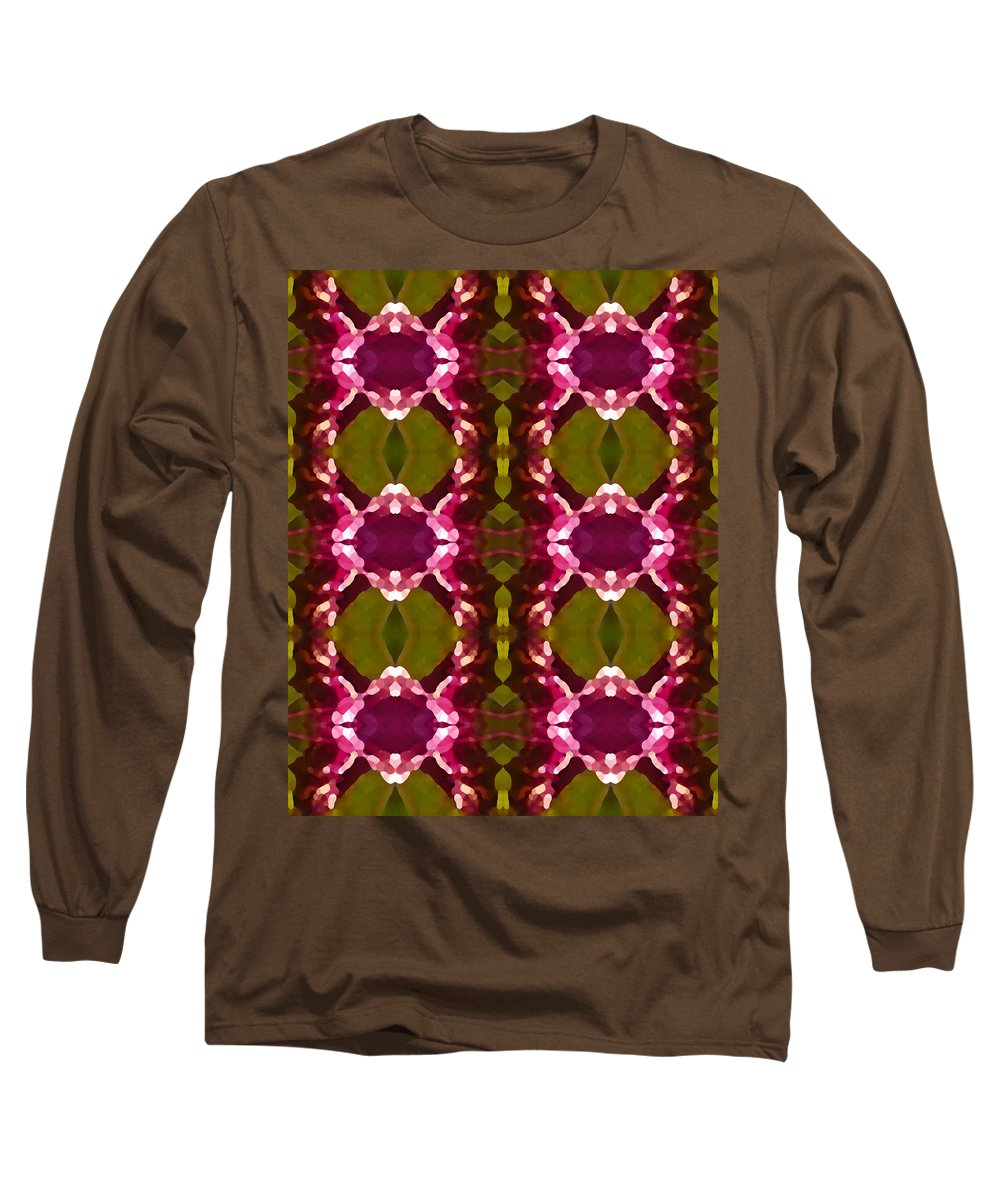 Abstract Long Sleeve T-Shirt featuring the painting Magenta Crystal Pattern by Amy Vangsgard
