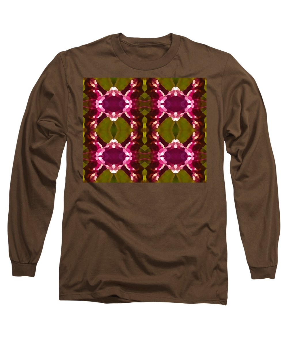 Abstract Painting Long Sleeve T-Shirt featuring the digital art Magenta Crystals Pattern 2 by Amy Vangsgard