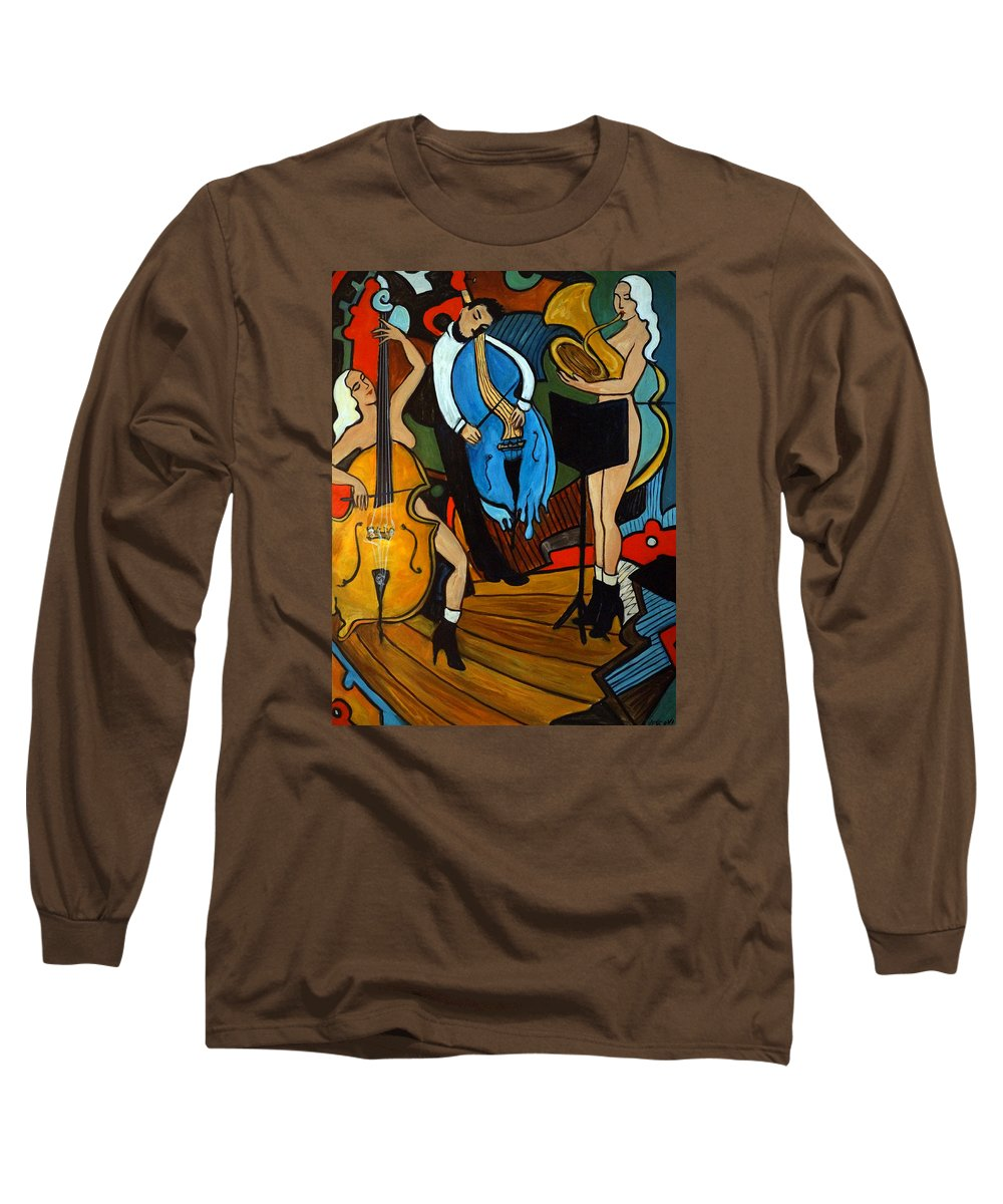 Musician Abstract Long Sleeve T-Shirt featuring the painting Melting Jazz by Valerie Vescovi