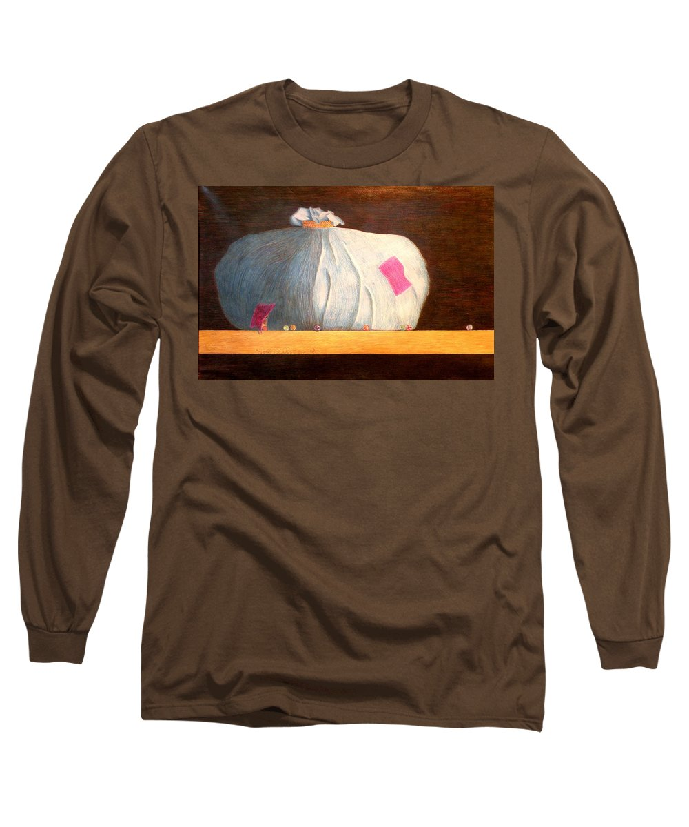 Still Life Long Sleeve T-Shirt featuring the painting Mental Escapees by A Robert Malcom
