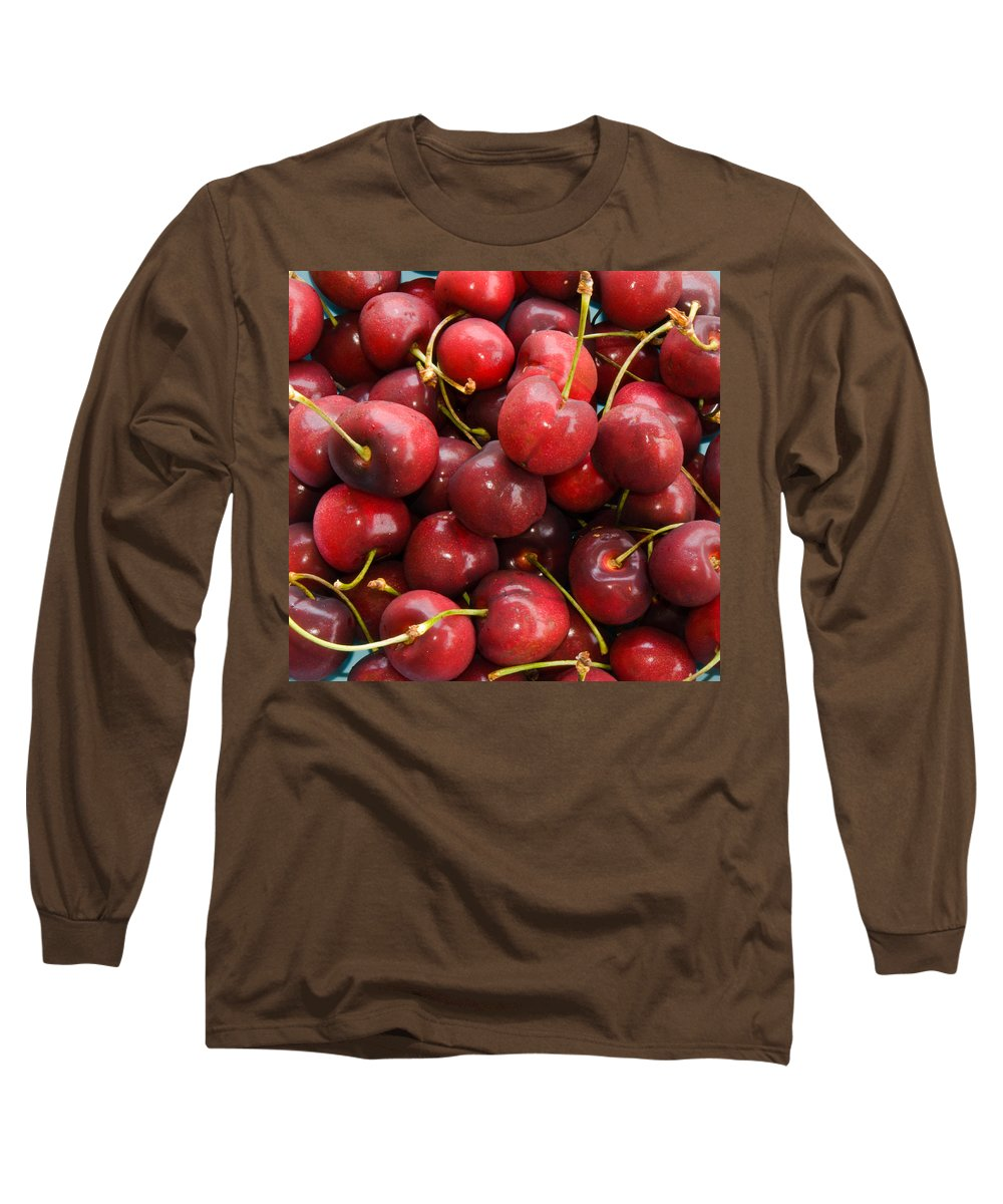 Life; Bowl; Cherry; Cherries; Dish; Bunch; Pile; Stem; Pit; Pie; Fruit; Blossom; Tree; Florida; Ripe Long Sleeve T-Shirt featuring the photograph Michigan Cherries by Allan Hughes