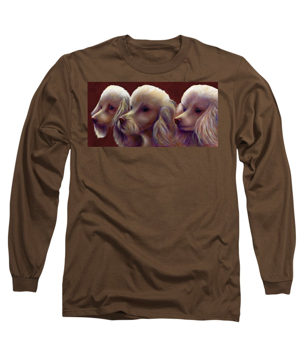 Dogs Long Sleeve T-Shirt featuring the painting Molly Charlie And Abby by Shannon Grissom