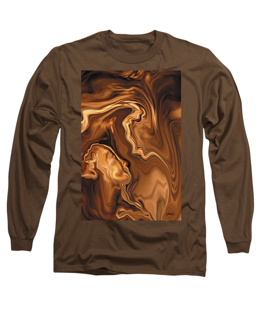 Abstract Adam Art Blue Brown Copper Digital Eve Figurative Khan Kiss Love Night Passion Rabi_khan Se Long Sleeve T-Shirt featuring the digital art Moment Before The Kiss by Rabi Khan