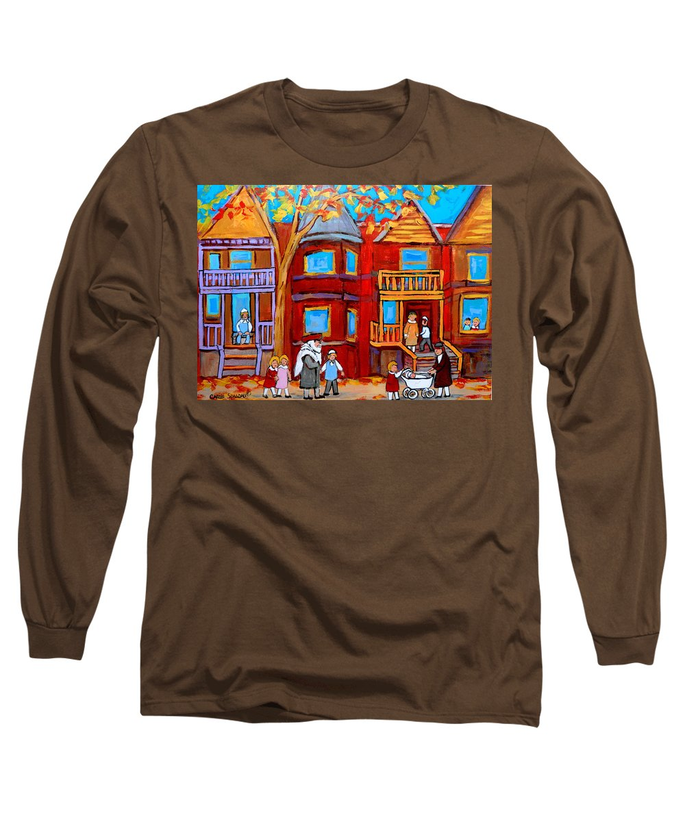 Outremont Long Sleeve T-Shirt featuring the painting Montreal Memories Of Zaida And The Family by Carole Spandau