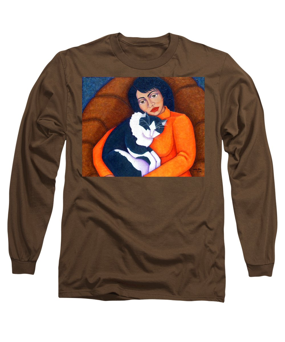 Woman Long Sleeve T-Shirt featuring the painting Morgana With Woman by Madalena Lobao-Tello