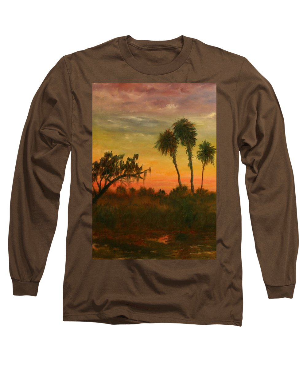 Palm Trees; Tropical; Marsh; Sunrise Long Sleeve T-Shirt featuring the painting Morning Fog by Ben Kiger