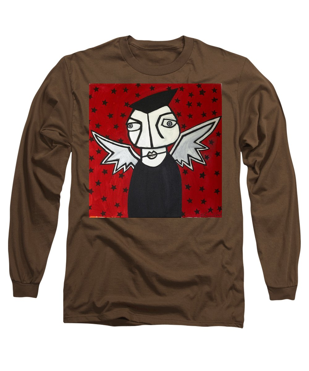Clay Long Sleeve T-Shirt featuring the painting Mr.creepy by Thomas Valentine