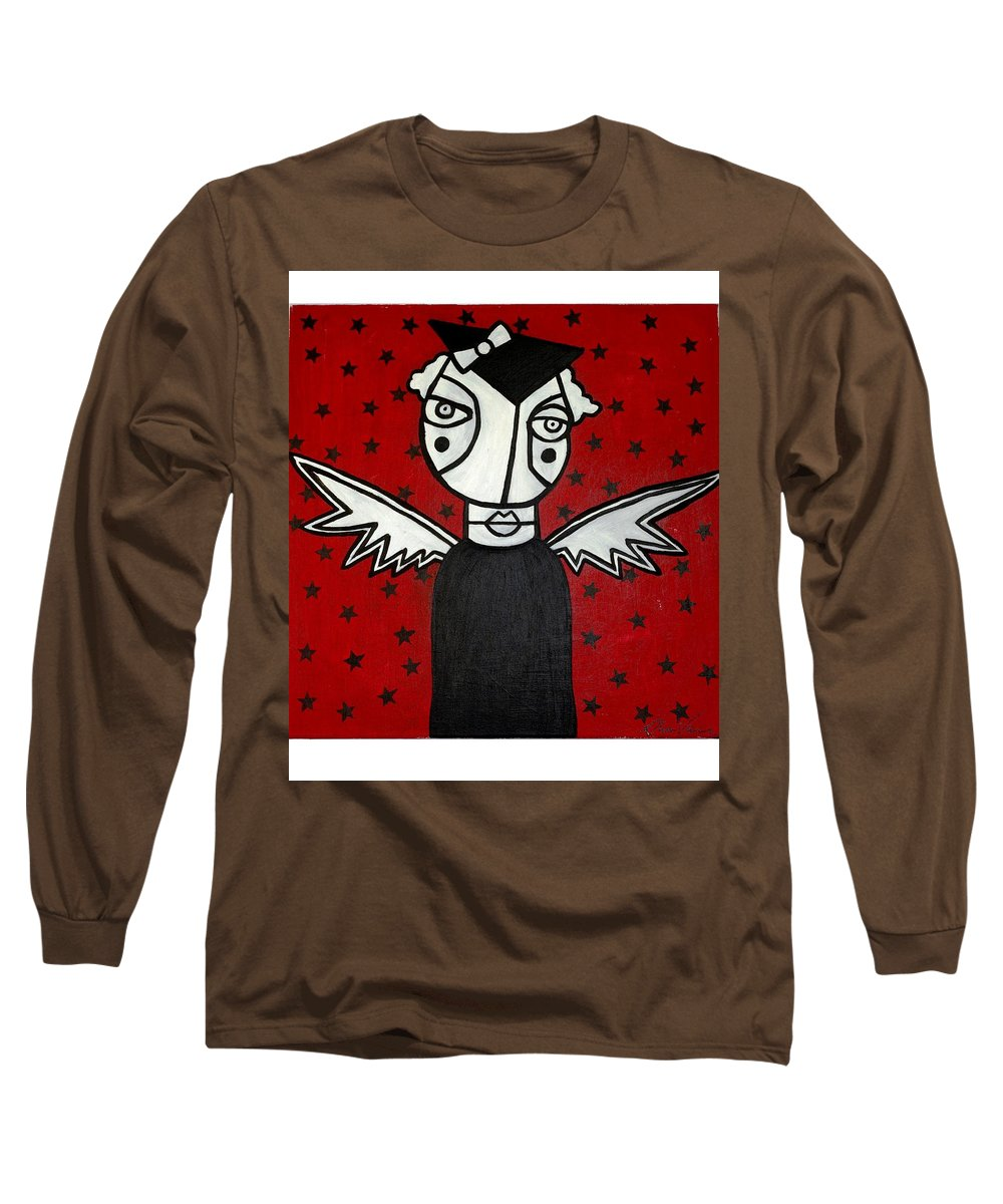 Potrait Long Sleeve T-Shirt featuring the painting Mrs.creepy by Thomas Valentine