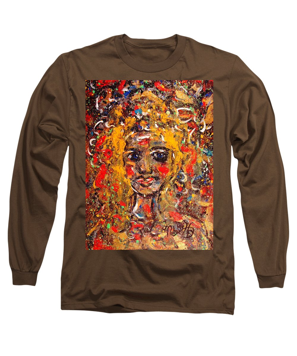 Impressionism Long Sleeve T-Shirt featuring the painting Mysterious Eyes by Natalie Holland