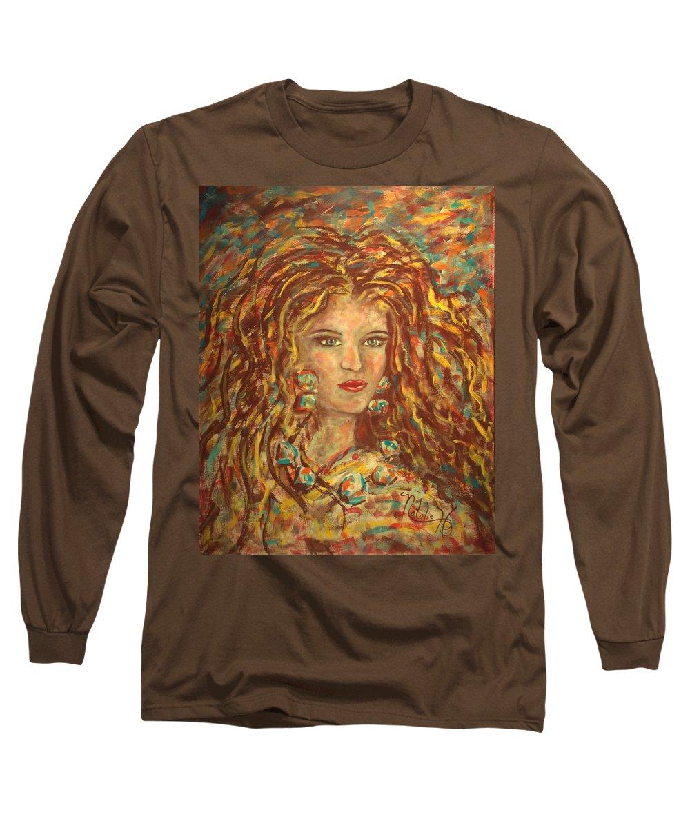 Natashka Long Sleeve T-Shirt featuring the painting Natashka by Natalie Holland