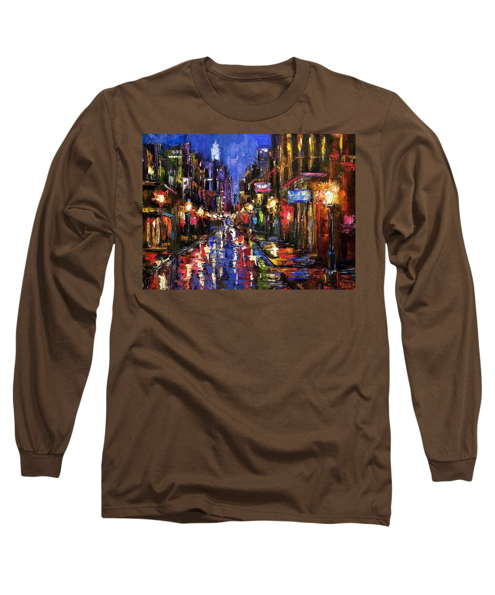 Cityscape Long Sleeve T-Shirt featuring the painting New Orleans Storm by Debra Hurd