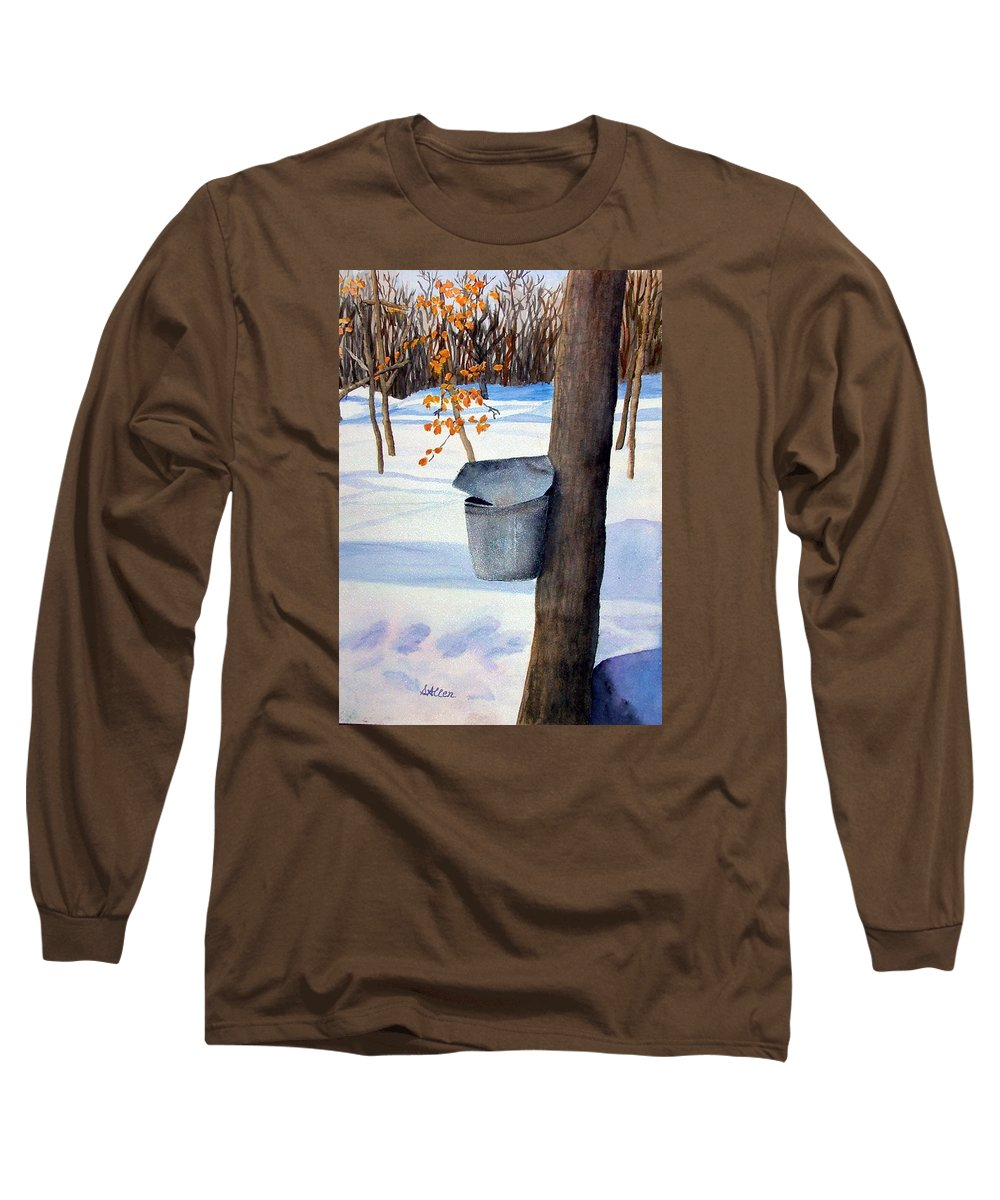 Sap Bucket. Maple Sugaring Long Sleeve T-Shirt featuring the painting Nh Goldmine by Sharon E Allen