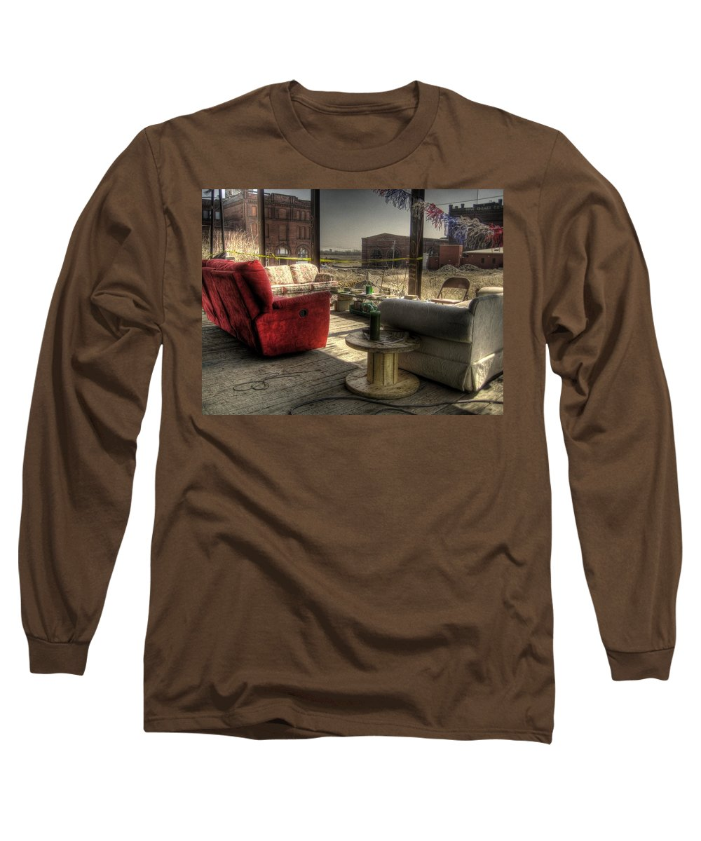 Hdr Long Sleeve T-Shirt featuring the photograph North St. Louis Porch by Jane Linders