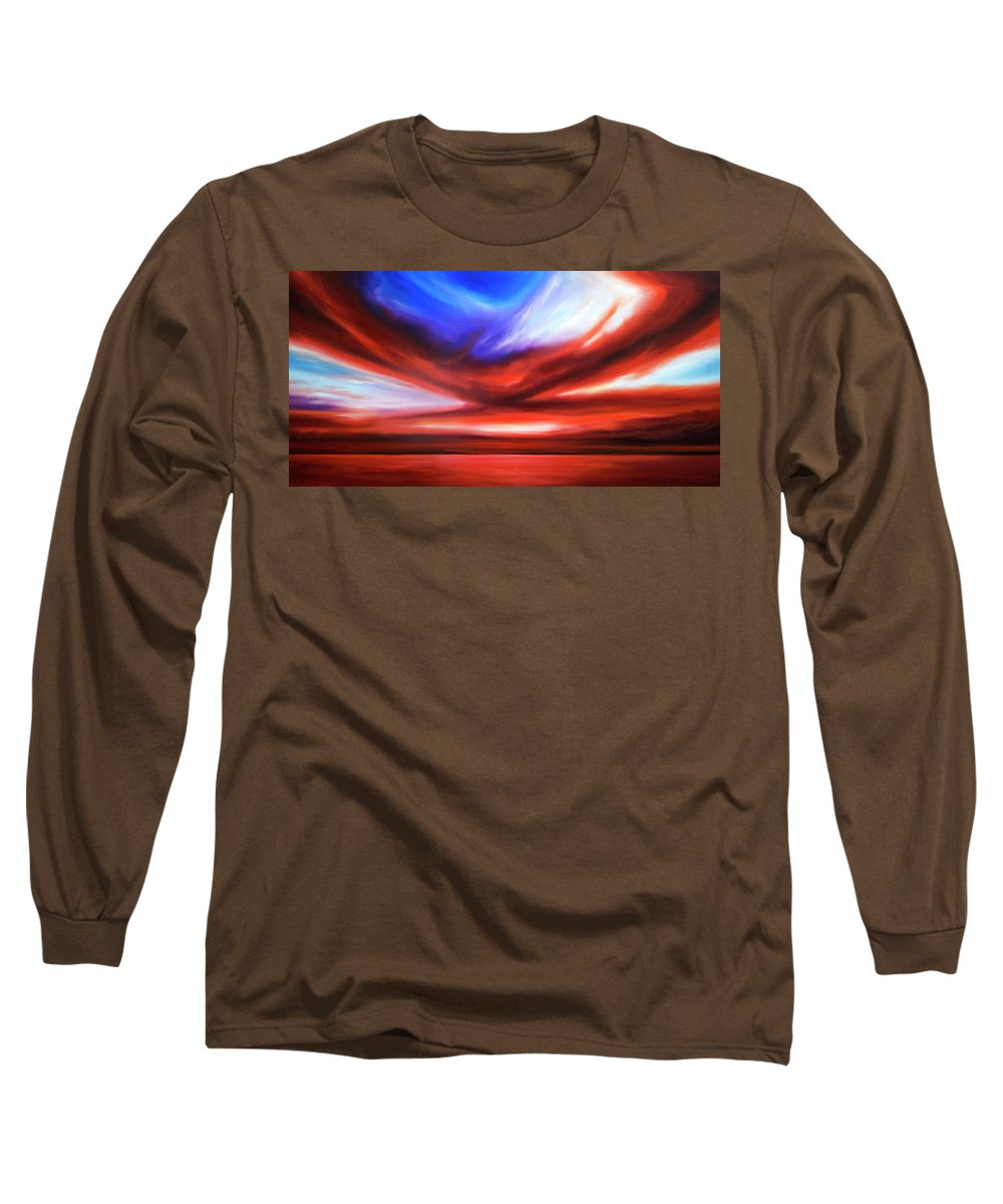 Sunrise; Sunset; Power; Glory; Cloudscape; Skyscape; Purple; Red; Blue; Stunning; Landscape; James C. Hill; James Christopher Hill; Jameshillgallery.com; Ocean; Lakes; Storm; Tornado; Lightning Long Sleeve T-Shirt featuring the painting October Sky V by James Christopher Hill