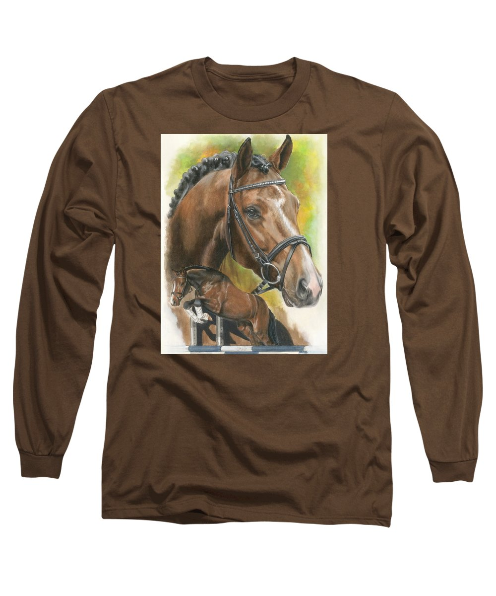 Hunter Jumper Long Sleeve T-Shirt featuring the mixed media Oldenberg by Barbara Keith